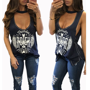 Spring Summer Women's T Shirt Sexy Sleeveless V Neck Choker Printed T Shirt Ladies Vest Tops Side Split Casual Long Tee T-shirt