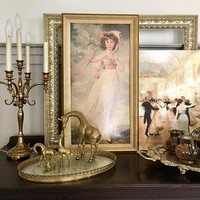 15 x 26  Large Framed Print of Pinkie by Thomas Lawrence, White and Gold Framed Artwork, Romantic Wall Art