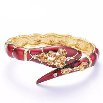 Crystal Rhinestone Red Sexy Snake Bracelet Bangle For Women