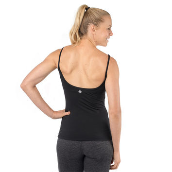 Yoga Tank with Built In Bra - Black