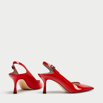 FAUX PATENT COURT SHOES WITH PRINTED LINING DETAILS