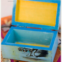 Alice in wonderland ring box:  personalized distressed, hand painted wooden box with white rabbit, ring bearer, proposal box