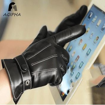 Men Leather Gloves Black Touch Screen Mittens Winter Thickened Quality Ultra Supple Lining Glove 2017 New Design Type R001