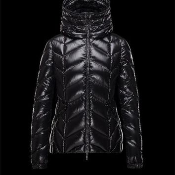Moncler BADETE Turtleneck Drawstring Closure Black Jackets Polyamide Womens