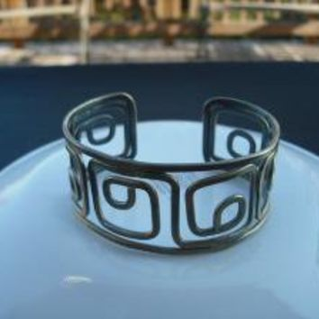 Greek key style cuff bracelet antique brass by Lana0Crystal