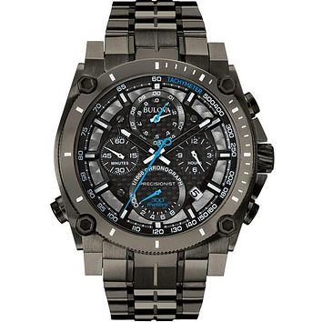 Bulova Mens Chronograph Precisionist - Black Out - Blue Accent  - Date Window