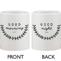 Cute Ceramic Coffee Mug - Good Morning Good Night 11oz Coffee Mug Cup
