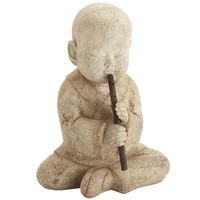 Lava Stone Monk with Flute