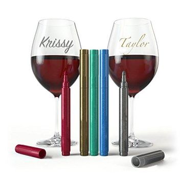 Wine Glass Markers  Pack of 5 Wine Glass Marker Pens Metallic Colors Best Wine Charms Alternative  Fun Wine Accessories  No Smearing amp Fast Drying