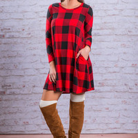 Party In Plaid Dress, Red-Black