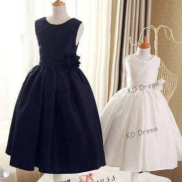 20% OFF !!! Navy Blue/Ivory Taffeta Cute Flower Girl Dress Children/Kids Birthday Party Dress with Navy Blue/Ivory Flower(Z1004)