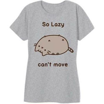 Pusheen Cat So Lazy Can't Move Licensed Women's Junior T-Shirt - Grey