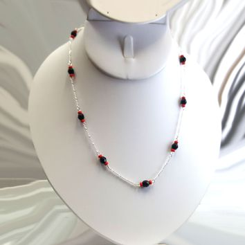 (2-60XX-h4) Ladies Sterling Silver Black Faceted Onyx Bead Necklace. Azabache. 18""