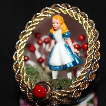 Alice in Wonderland Vintage Disney Figurine in Royal Blue Egg Art Diorama - Free Shipping