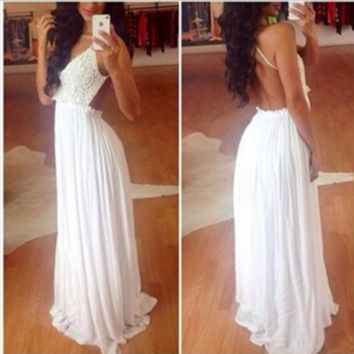 Romantic White  Pink Floral Lace Backless Maxi Long Dress 4 Party Event Chiffon