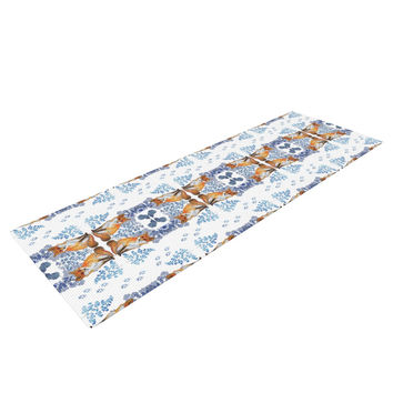 "DLKG Design ""Red Fox in Snow"" Blue Orange Yoga Mat"