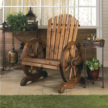 Outdoor Furniture-Wood Wagon Wheel High Back Chair