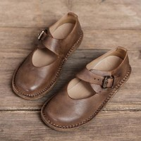 Handmade Leather Buckle Flats For Women Round Toe Mori Style