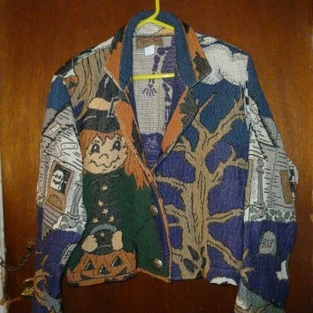 Womens Vintage Painted Pony Tapestry Halloween Jacket M Medium Oversized Cute Trick or Treaters
