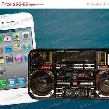 SALE Boombox Tough iPhone case - Retro Ghetto Blaster funny iPhone 4 / 5 hard case, 2 piece rubber lining case