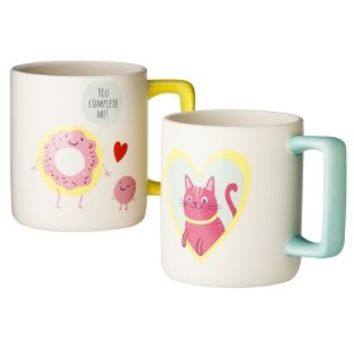 "Valentine's ""You Complete Me"" Donut and ""You're Purrfect"" Cat Coffee Mug Set of 2"