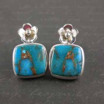 Turquoise Flower .925 Sterling Silver Post Earrings