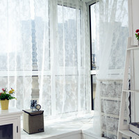 Voile Tulle Curtains Lace Insect Bed Canopy Netting Curtain Drape Panel Leaf Door Window Sheer Curtain for Living Room