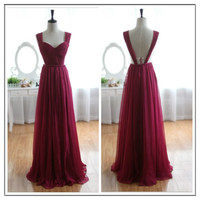 Wine Red Prom Dresses,Simple Burgundy Evening Dresses,Chiffon Long Bridesmaid Dress