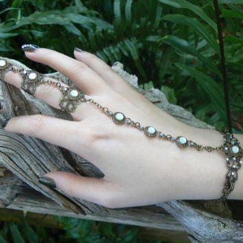 bridal hand flower opal slave bracelet triple ring hand chain slave ring bohemian elfin victorian moon goddess pagan boho gypsy style