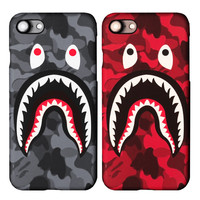 For iPhone 7 Case Bape Shark Army Phone Cover For iPhone 6 6s Case Luminous Hard PC Matte Fundas Coque for iPhone 7 7 Plus Capa