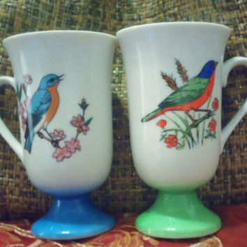 A Vintage Set of Colorful Bird Pedestal Coffee Mugs by Fred Roberts - Green and Blue Pedestal Made in Japan