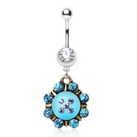 316L Surgical Steel Navel Ring with Turquoise Nautical Sunburst Dangle