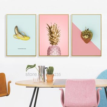 Yellow Pink Pineapple Nordic Poster Gold Fruit Posters Wall Art Canvas Painting Picture Wall Pictures For Living Room Unframed