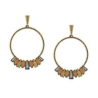 Jessica Simpson Hoop Earrings - Gold/Peach/Opal