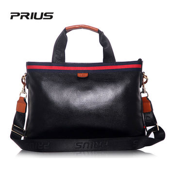 PRIUS 2017 Fashion Handbags Casual Briefcase Business Shoulder Bag Genuine Leather Messenger Bags Computer Laptop Handbag Bag