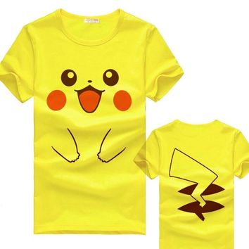 The  Pikachu of Smiley face cotton yellow T-shirt women/men 5 color tshirt Anime T shirtsKawaii Pokemon go  AT_89_9