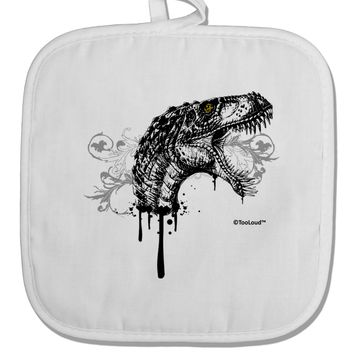Artistic Ink Style Dinosaur Head Design White Fabric Pot Holder Hot Pad by TooLoud