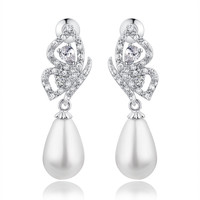 Shell Pearl W. Teardrop and Round Cubic Zirconia Earrings