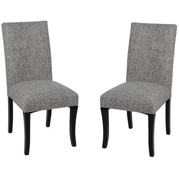 ARMEN LIVING Accent Nail Side Chair In Ash Fabric (Set Of 2)