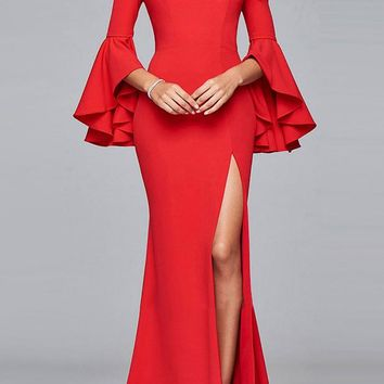 A| Chicloth Red Maxi Dress Sexy Off The Shoulder Evening Dress