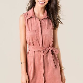 Emory faux suede shirt dress
