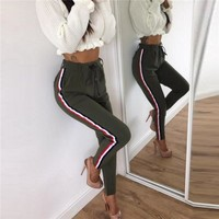 Women Pants High Waist Autumn Work Clothes For Womens Ankle Length Body Slim Fit Trousers Jumper Track