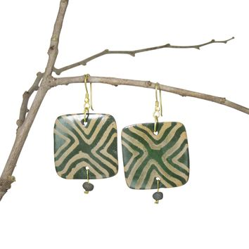 Handmade, Geometric Nerikomi Earrings; Squares; OLIVE