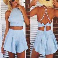 Solid Color Fashion Casual Sleeveless Backless Vest Shorts Set Two-Piece