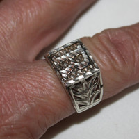 Sterling Mens Diamond Cut Ring Initial R 1940s Jewelry