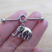 Lovely Elephants industrial barbell, Industrial Barbell, piercing,industrial barbell earring jewelry,