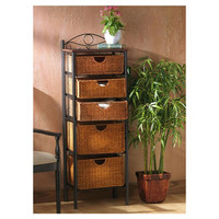 Wildon Home ® Iron/Wicker Five Drawer Storage Unit