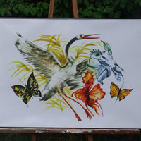 Crane and Butterflies Poster-18x24 inches-Vintage Image