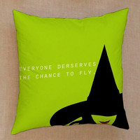 Wizard of OZ Wicked Witch mUSICAL typographic Pillow Cover Custom  Square Pillow Cases