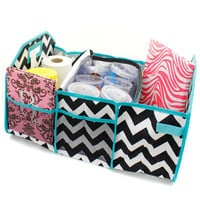 Chevron Zig Zag Personalized Trunk Utility Bag with Insulated Cooler Trunk Organizer Car Organizer  Sports Gear Storage  Christmas Gift